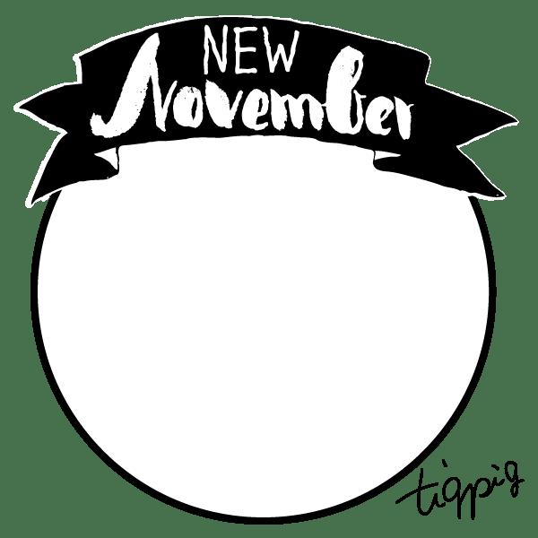 【11月】Nobemberの手書き文字とリボン(バナー形)のwebデザイン素材:600×300pix