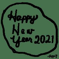 【年賀】Happy New Year 2021のラフな手書き文字と囲み罫のwebデザイン素材(600pix)