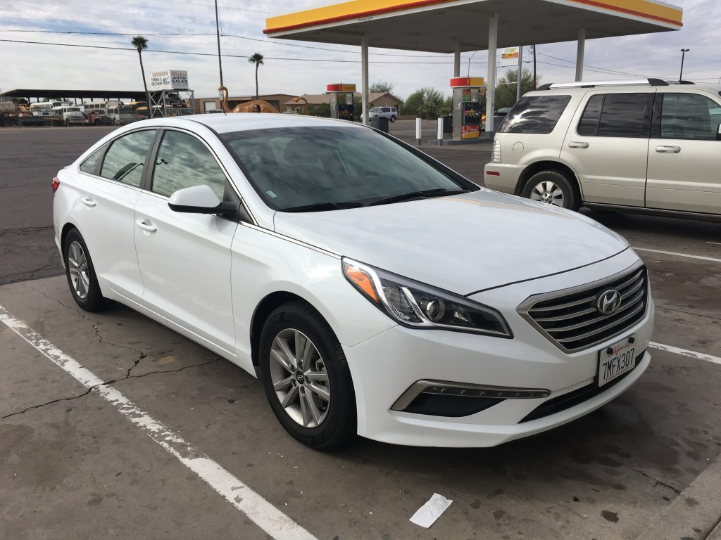 Our rental car for USA West Coast Road Trip Hyundai Sonata 2015