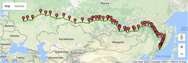 Trans Siberian Express map