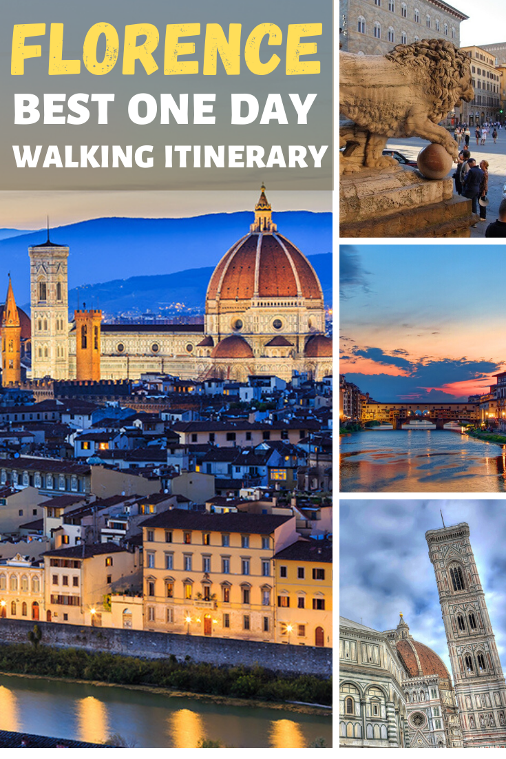 Best things to do in #Florence #Italy if you only have one day. This is a walking itinerary that will take you to coolest places in the city, all important landmarks and famous cathedrals.