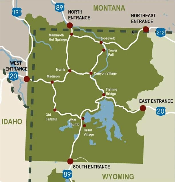 Yellowstone Itinerary 4 days map