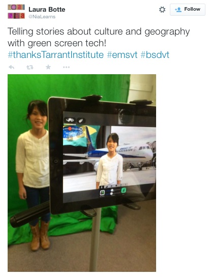 global storytelling with a green screen and iPads