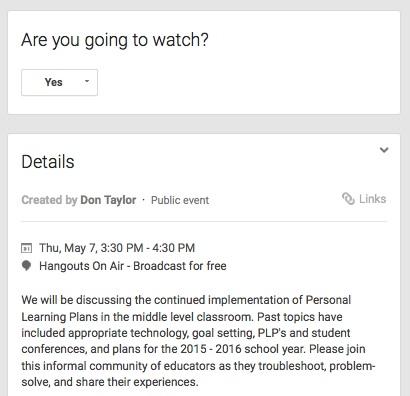 professional development through Google Hangouts