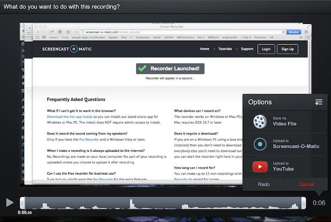 screencast-o-matic on the MacBook