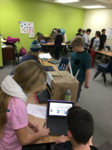 Students working in a classroom.