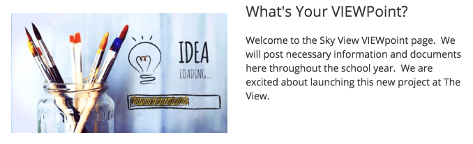Snapshot of a web page announcing the VIEWPoint project.