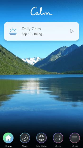 a screenshot from the Calm mindfulness app