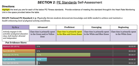 Personalizing PE: Screen shot of a self-assessment.