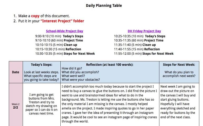 Julia's planning document