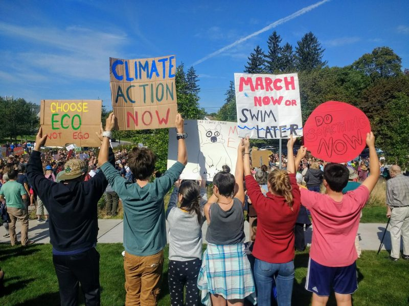 students at the Middlebury Youth Climate Strike hold up homemade signs