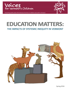 Middle school movement equity: Cover of a report called Education Matters: The Impacts of Systemic Inequity in Vermont