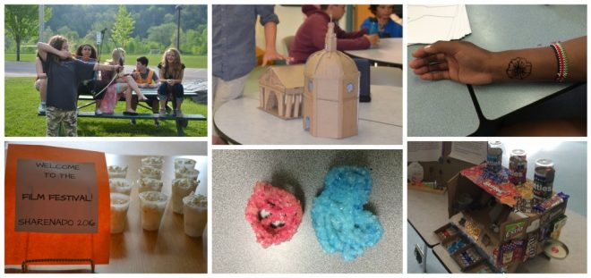 Collage of photos including archery, cardboard roman temple, henna tattoos, film festival, Borax crystals, Skittles dispenser