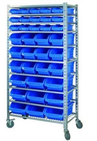warehouse plastic storage bin rack for machine parts