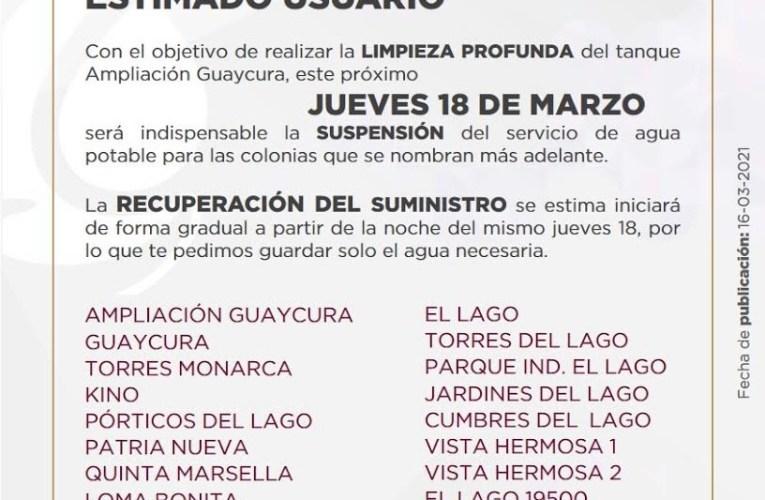 Esta es la lista de las colonias que no tendrán suministro de agua el jueves