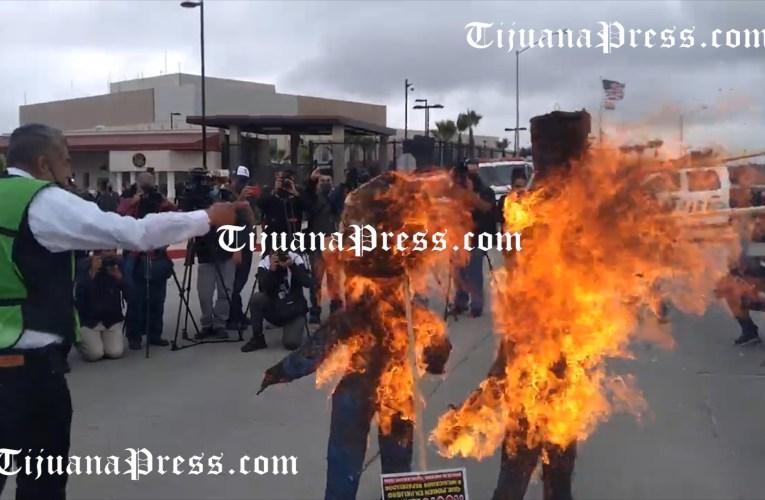 Queman al «Tío Sam» frente al Consulado de Estados Unidos en Tijuana