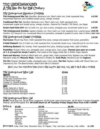 TU Beverage list Grand Opening