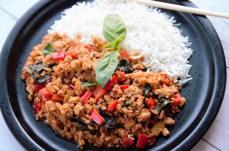 Spicy Thai Basil Tofu Stir Fry