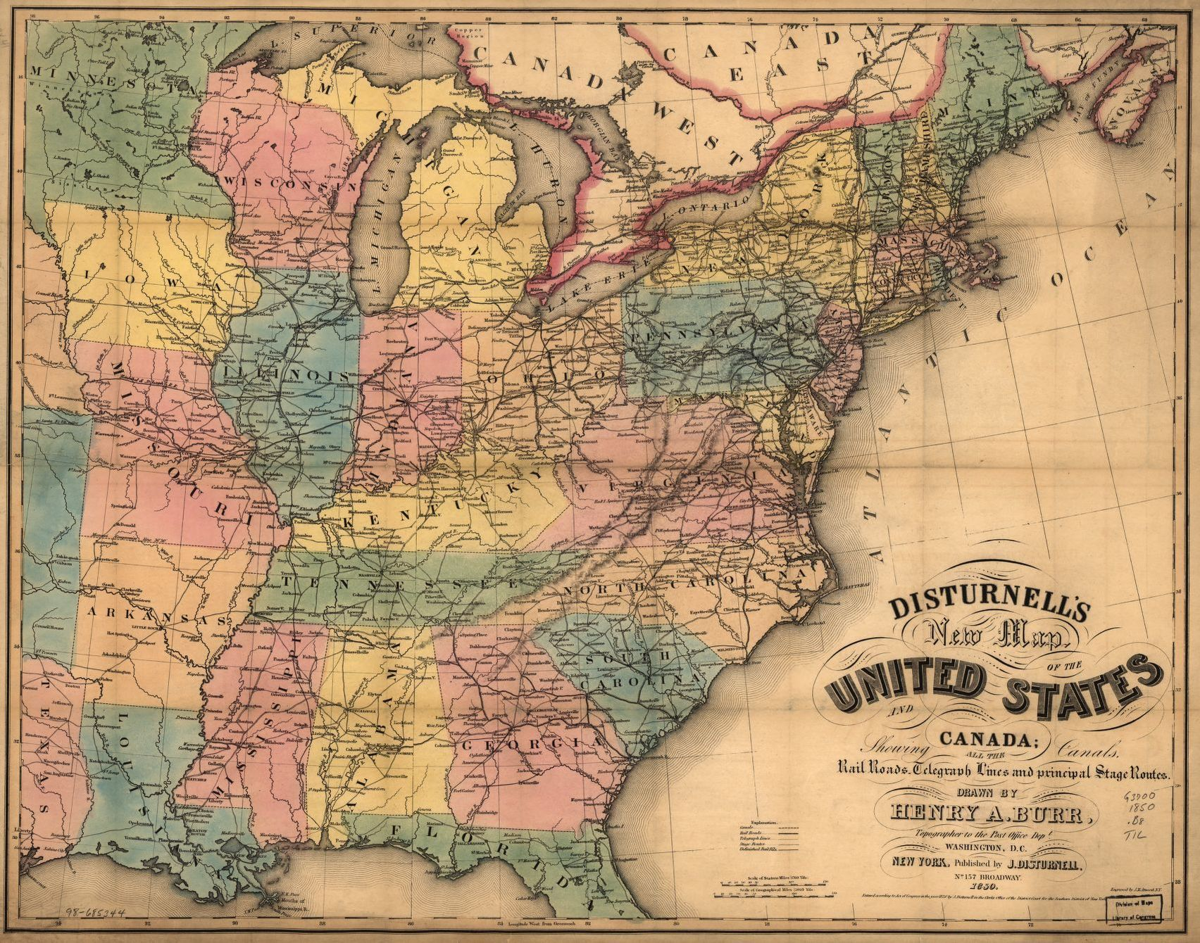 This map displays limited access, primary, and secondary highways (including route numbers) for all of the 48 contiguous united states and the 10 provinces of canada (newfoundland shown in an inset). Disturnell S New Map Of The United States And Canada Library Of Congress