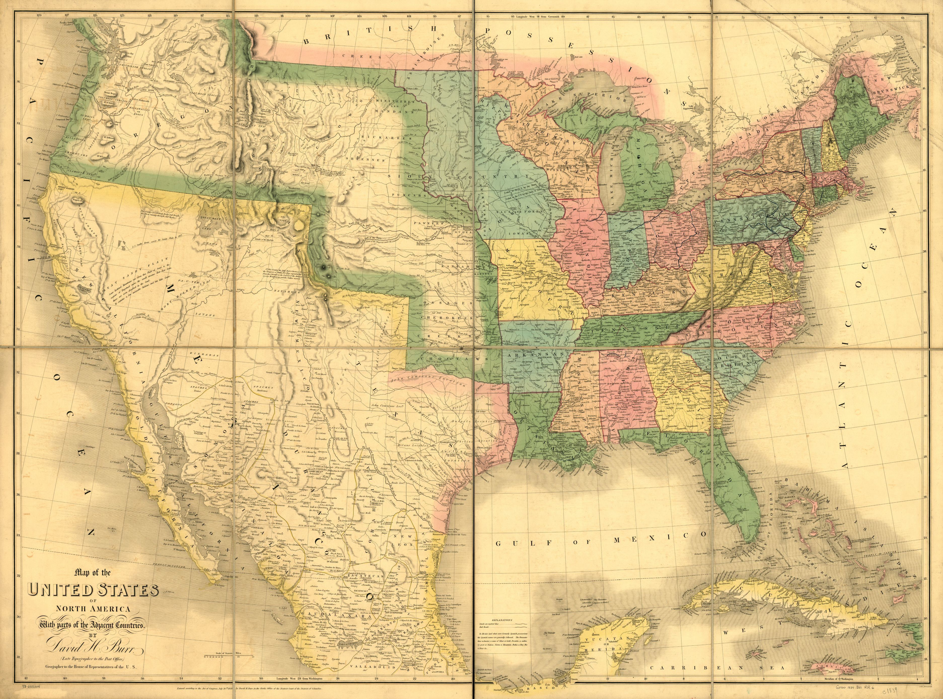 Map Of The United States Of North America With Parts Of