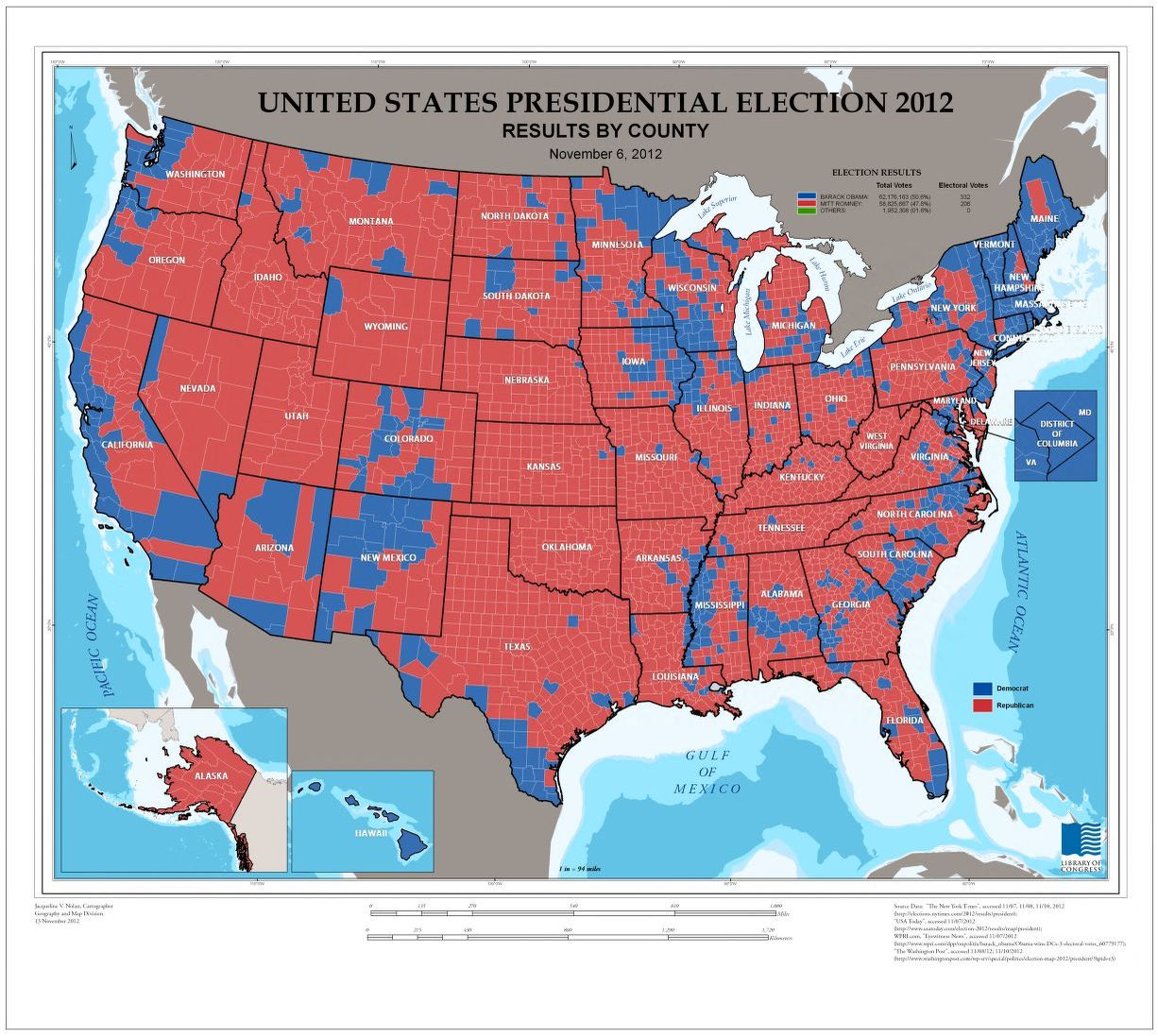 Though the republican nominee trailed hillary clinton by more than 780,000 popular votes as of monday, the 290 electoral votes amassed by trump. United States Presidential Election 2012 Results By County November 6 2012 Library Of Congress