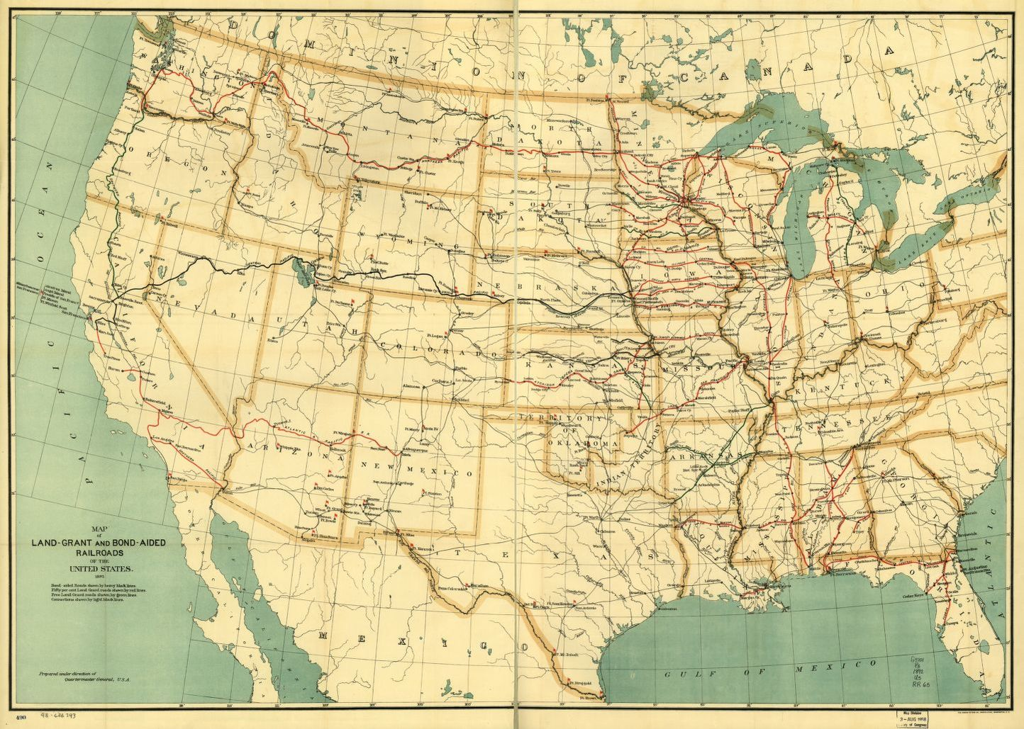 Map Of Land Grant And Bond Aided Railroads Of The United