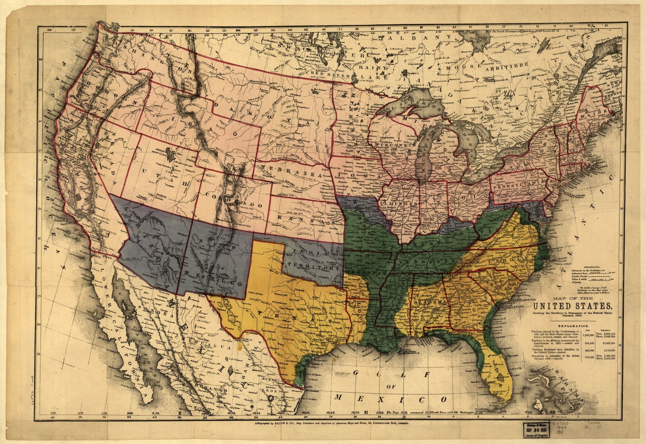 Map Of The United States Showing The Territory In