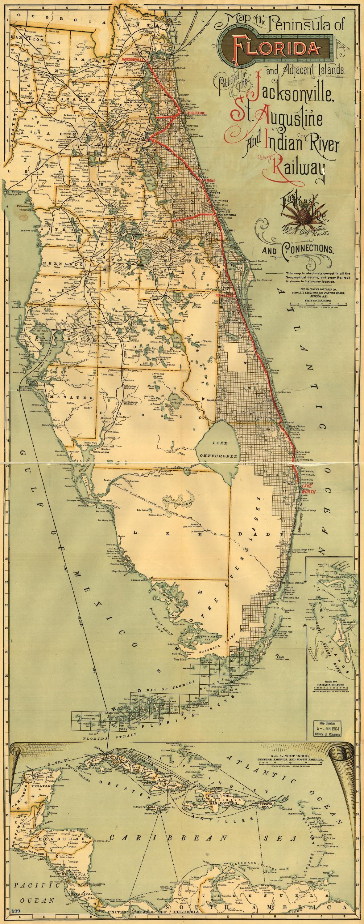 Map Of The Peninsula Of Florida And Adjacent Islands
