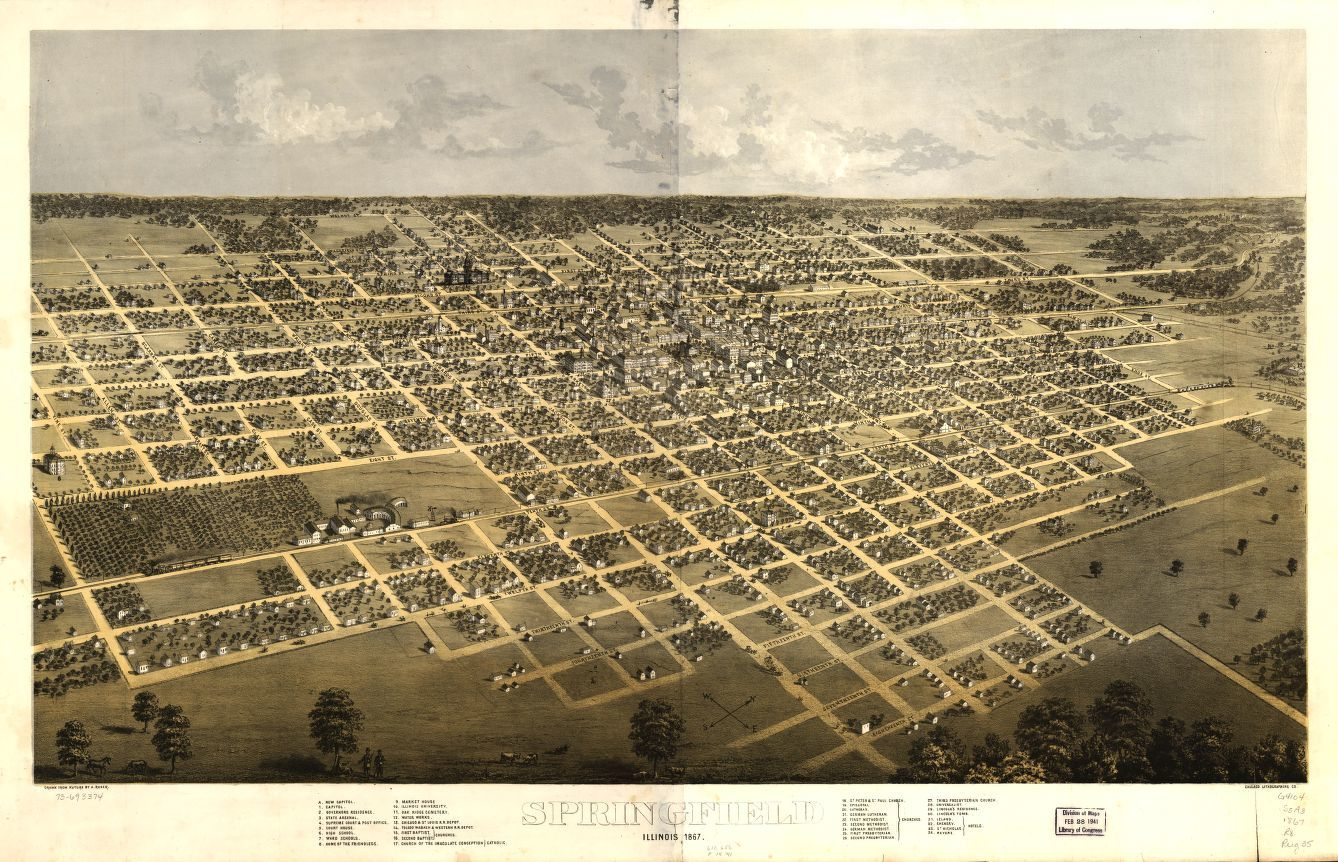 Springfield, Illinois, 1867. Drawn from Nature. A. Ruger, 1867. Map Collections of the Library of Congress