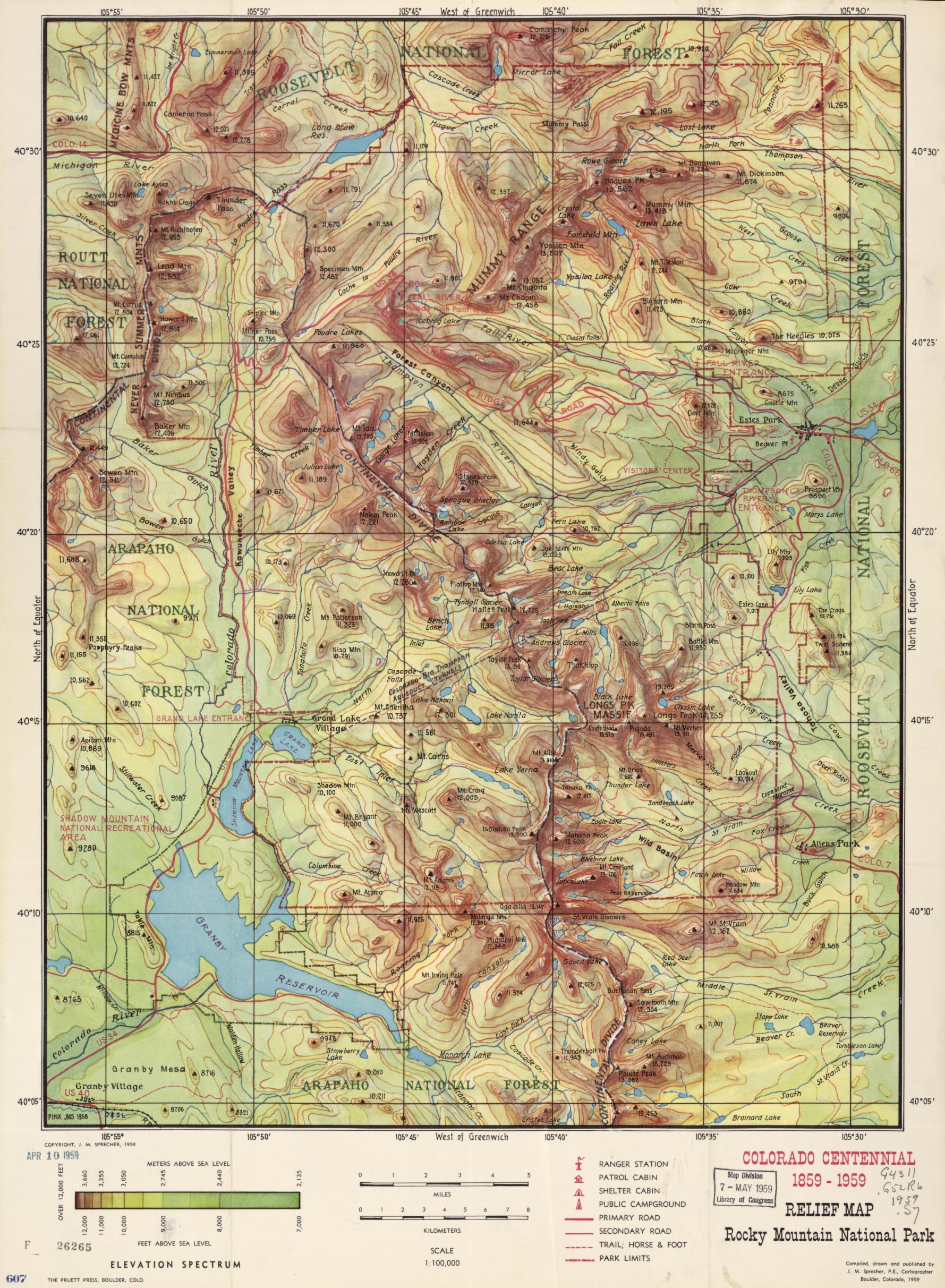Relief Map Rocky Mountain National Park Colorado