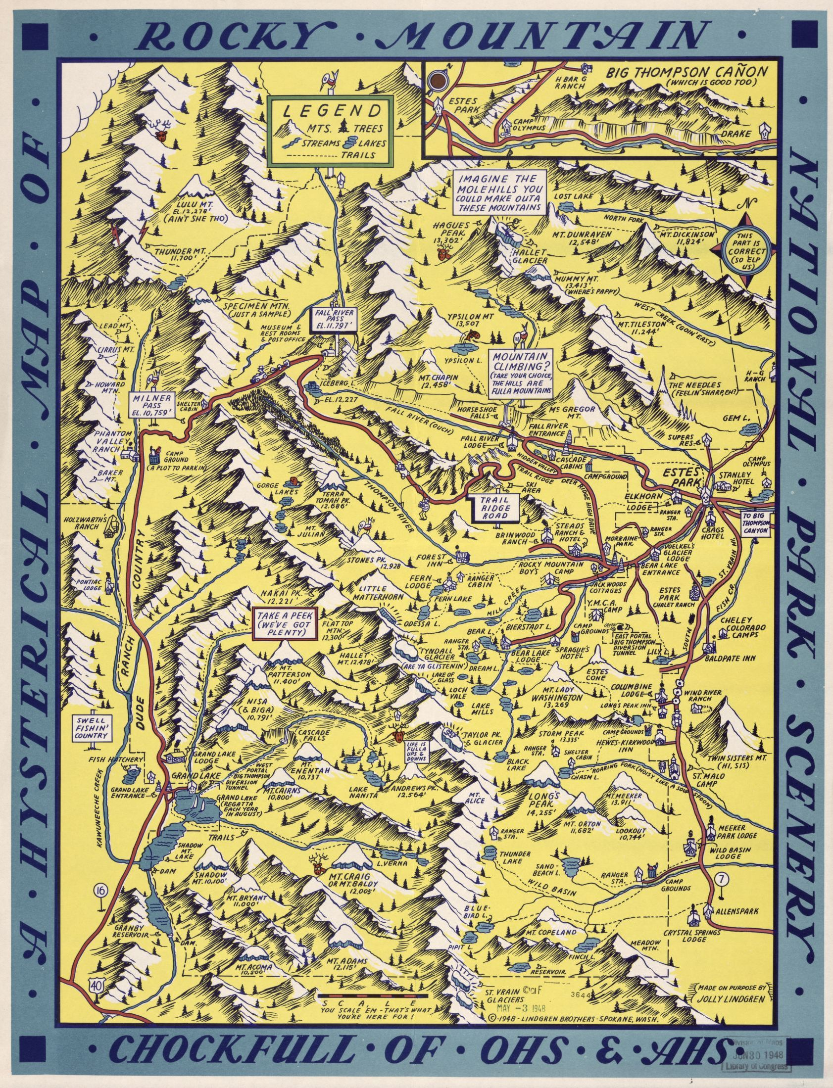 A Hysterical Map Of Rocky Mountain National Park Scenery