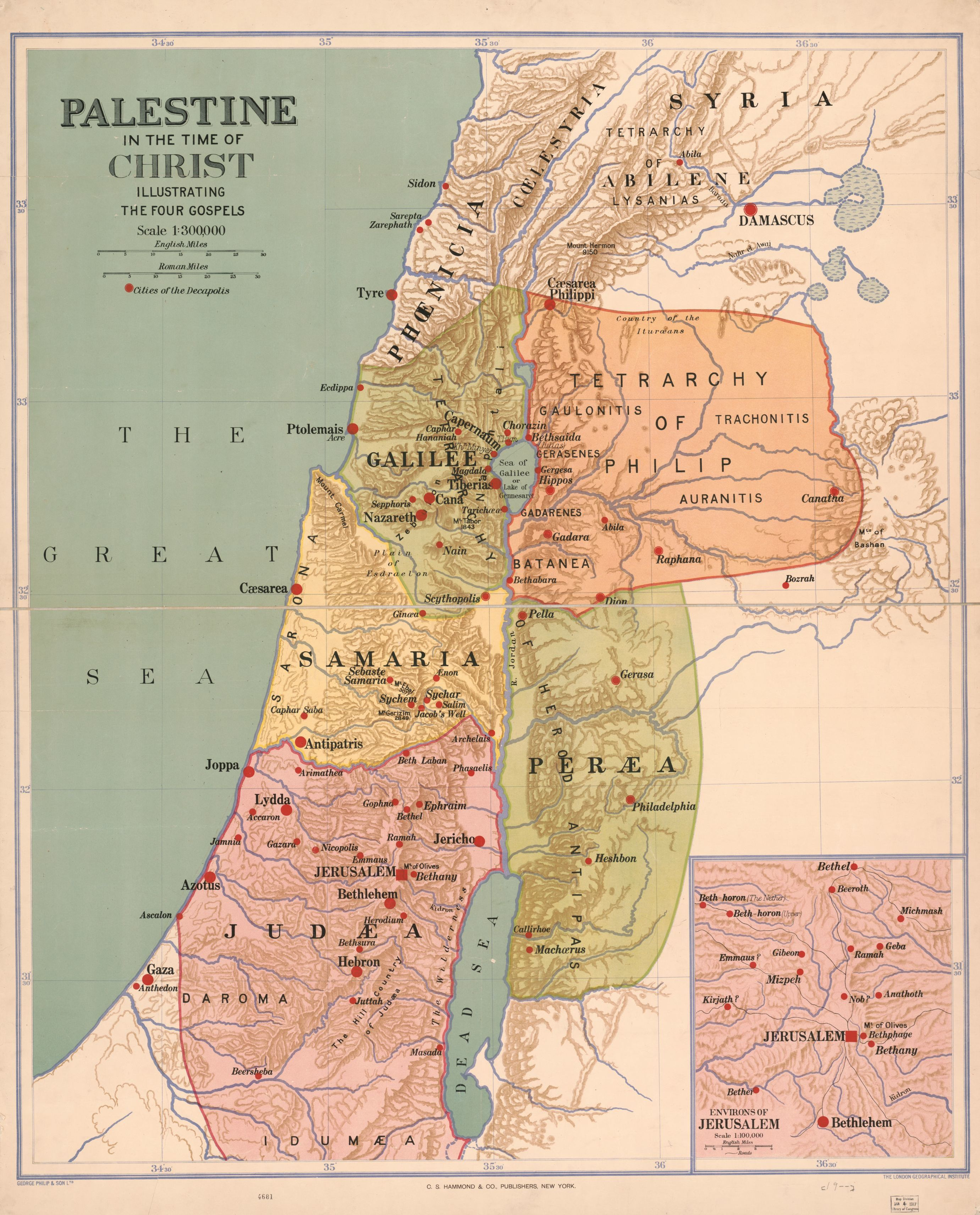 Palestine In The Time Of Christ Illustrating The Four