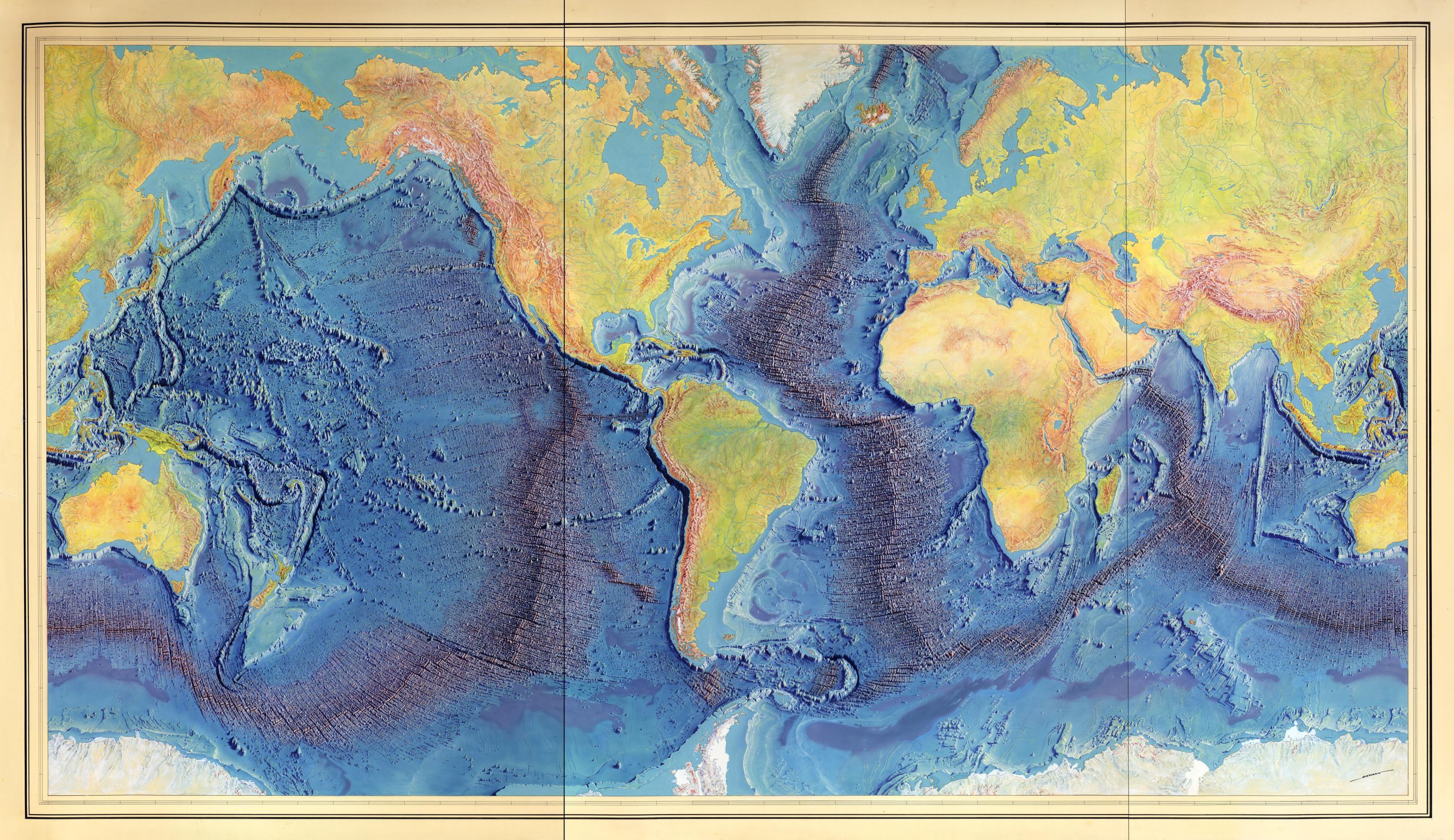 M Cript Painting Of Heezen Tharp World Ocean Floor