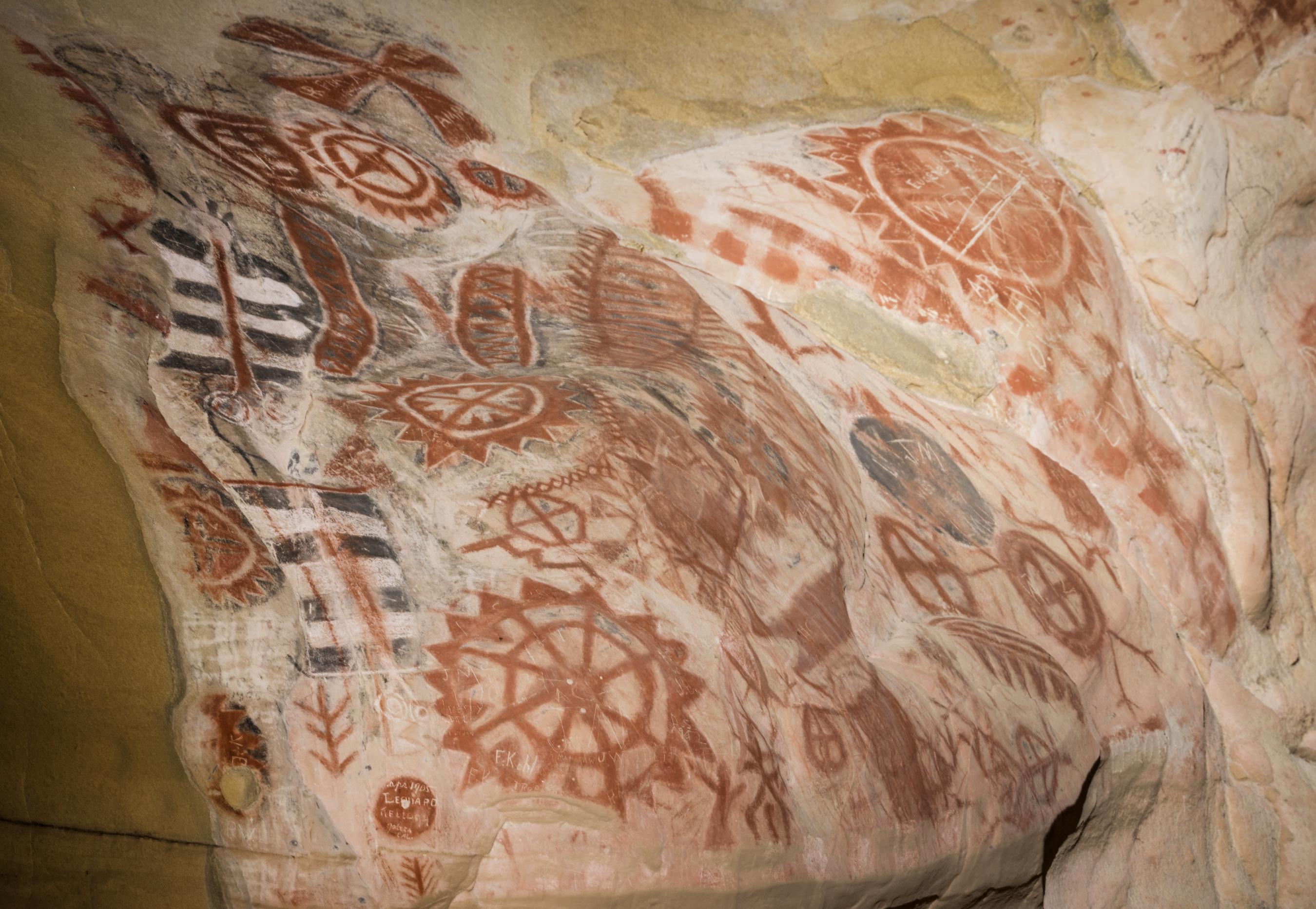 Petroglyphs at Chumash Painted Cave State Historic Park, high above Santa  Barbara, California | Library of Congress
