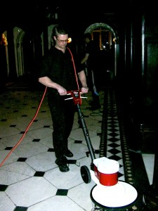 Cleaning marble floors at Crewe hall  in Cheshire