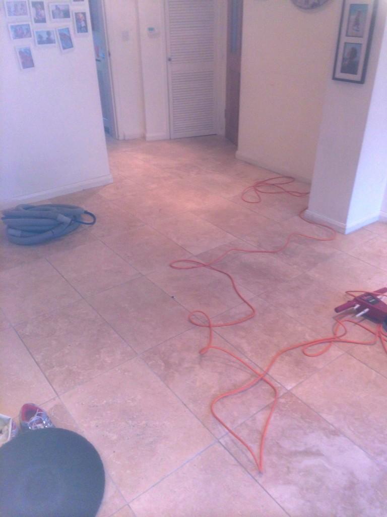 Travertine Kitchen Floor Cleaning Sealing Polishing Whetstone