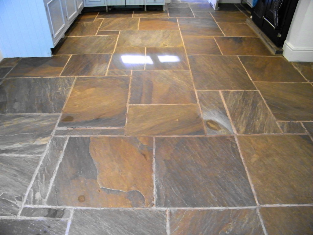 Stripping Cleaning And Sealing Of Stone Kitchen Floor In Kerridge