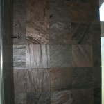 Slate master bathroom shower with silhouette