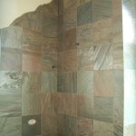 Honed Slate kerdi master bathroom shower