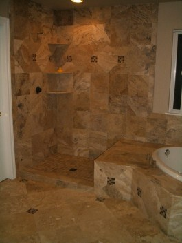 Travertine shower in Windsor