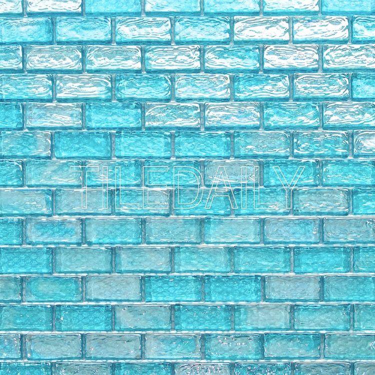 turquoise iridescent brick glass mosaic tiledaily