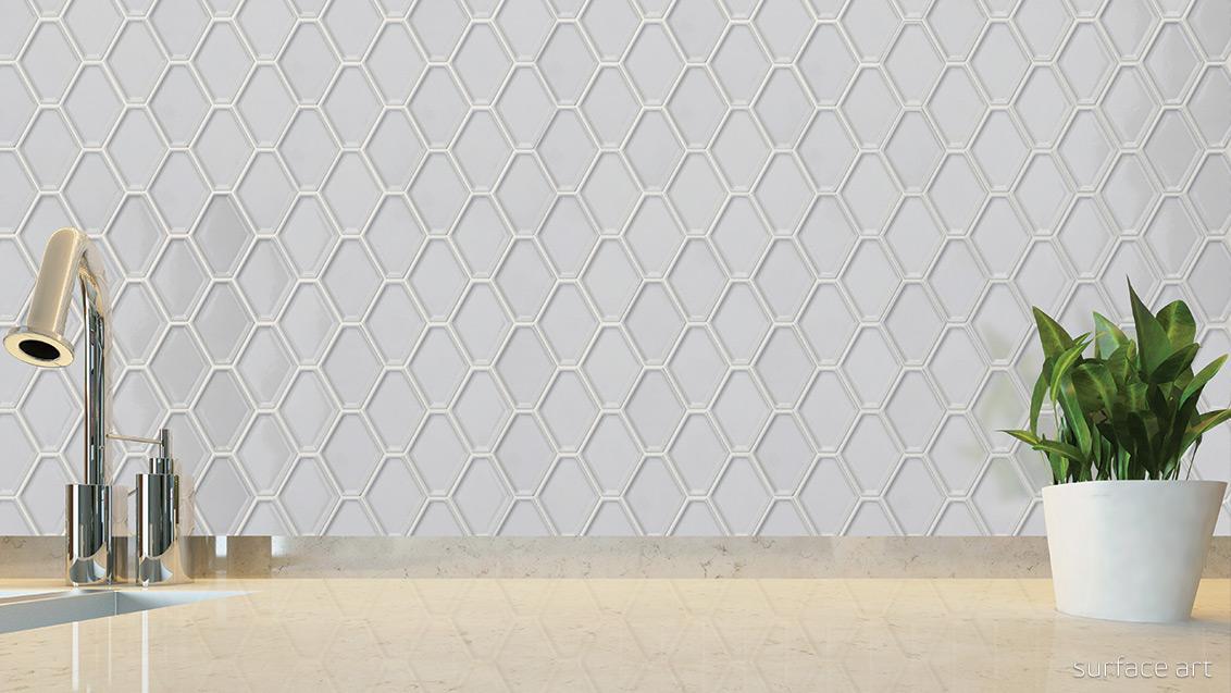 nouveau bianco glossy elongated hexagon