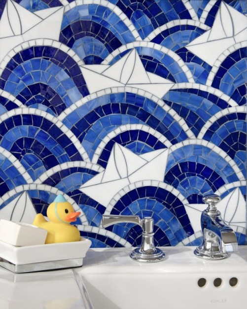 Fleet, a hand-cut and water jet mosaic, shown in Lapis Lazuli, Iolite, Absolute White, and Moonstone jewel glass.