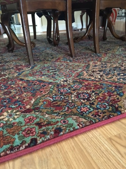 Another view of Karastan's Axminster Broadloom Multicolor Panel Kirman custom made bound rug via 'A Cut Above'