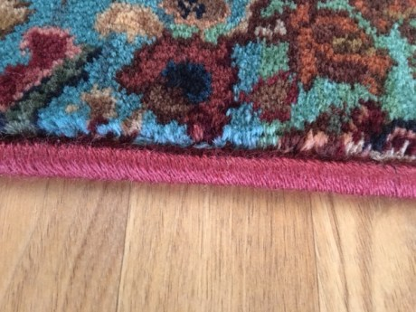 Karastan's Axminster Broadloom Multicolor Panel Kirman custom made bound rug via 'A Cut Above'