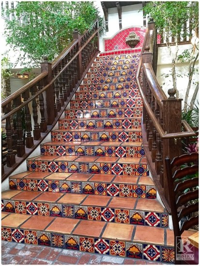 Grand staircase using Rustico's Mexican tile and Saltillo tile