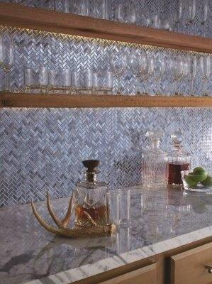 Entourage Collection - Novelty in Lapis herringbone glass mosaic