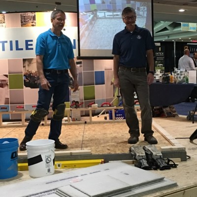 NTCA's Mark Heinlein (pictured right) and the Ceramic Tile Education Foundation (CTEF)'s Scott Carothers presented a wide array of installation techniques and answered questions in a live stage demonstration.