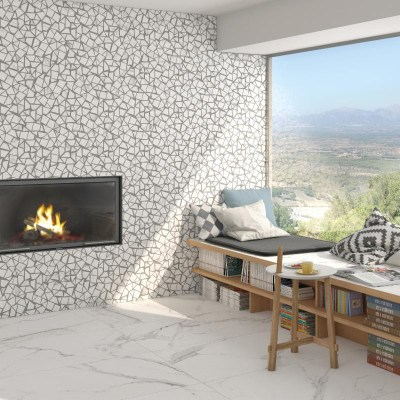 Vives Doney (floor), Vives Mosaico Necci Blanco (wall)