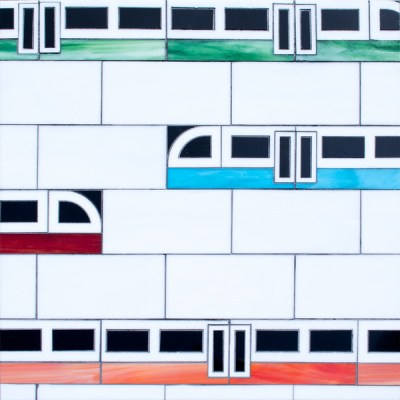 Subway!, a waterjet jewel glass mosaic, shown in Absolute White, Obsidian,Garnet, Verdite, Sardonyx, and Chrysocolla.